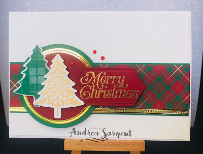 Andrea Sargent, Valley Inspirations, Stampin Up, Christmas, Perfectly Plaid, Pine Tree Punch, Art With Heart