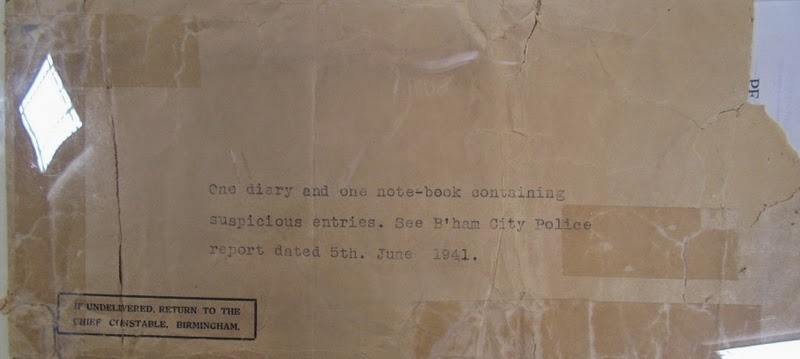 Birmingham Police envelope in which notebooks were sent to MI5 - National Archives KV 2/27