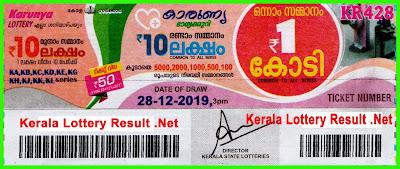 Kerala Lottery Result 28-12-2019 Karunya KR-428