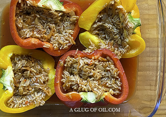 Stuffed peppers ready for the oven