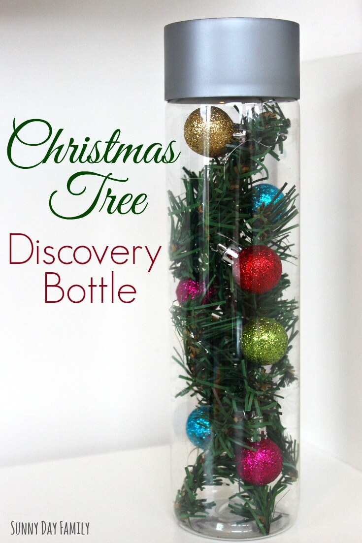 Christmas Tree in a Bottle! Let your toddler or preschooler explore the tree safely with this fun activity. Great for counting and color practice. Makes a toddler friendly Christmas decoration too!