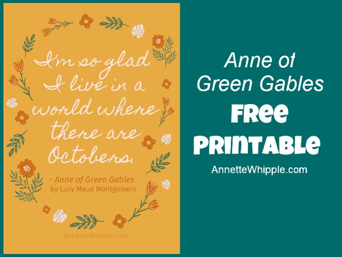 Anne Shirley October Quote Printable