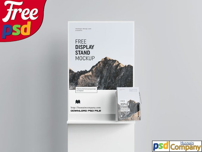 Free Poster Display with Flyers PSD Mockup #1