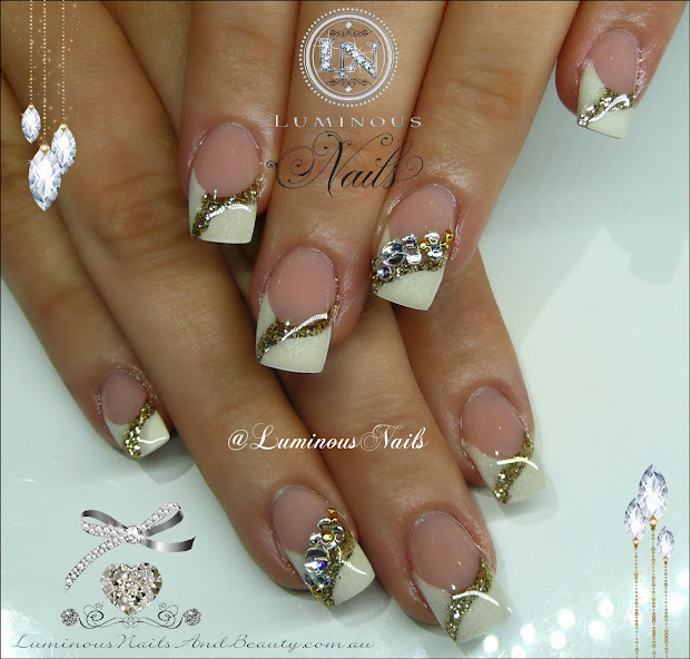 White Acrylic Nails Wedding