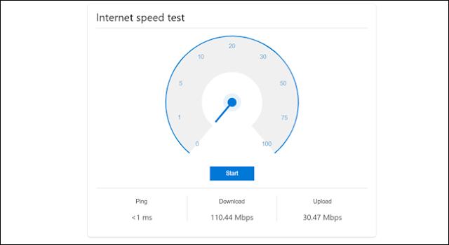 يُظهر اختبار سرعة الإنترنت سرعة أكبر من 1 مللي ثانية ، وسرعة تنزيل تصل إلى 110.44 ميغابت في الثانية ، وسرعة تحميل تصل إلى 30.47 ميغابت في الثانية.