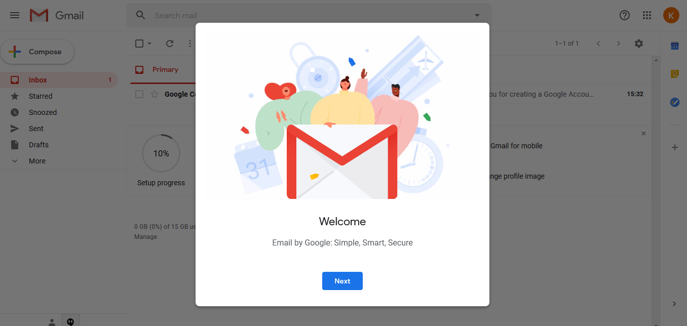 Welcome message from Google thereupon creating a new account.