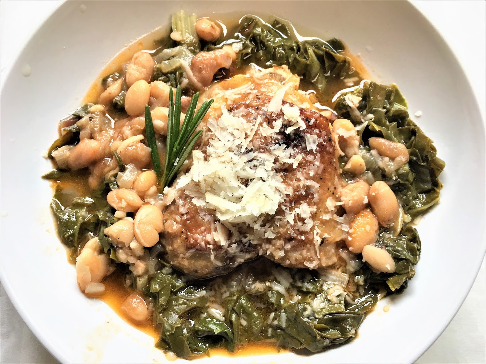 Braised Chicken, with White Beans and Chard - mysavoryspoon