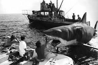 Uno de los tiburones mecánicos utilizados para la película