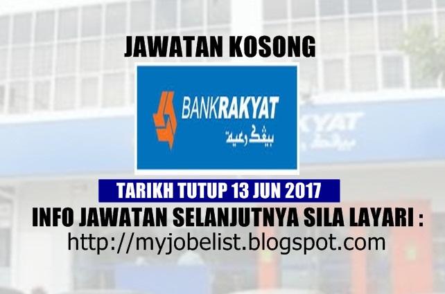 Jawatan Kosong Bank Rakyat - 13 Jun 2017