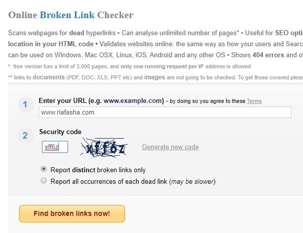 cara menambahkan blog untuk di cek broken link