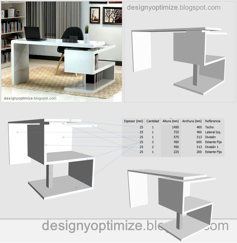 Dise o de muebles madera escritorio zig zag minimalista for Muebles escritorio diseno