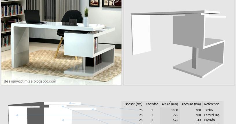 Dise o de muebles madera escritorio zig zag minimalista for Diseno de muebles de escritorio
