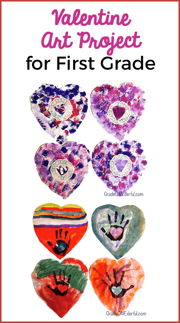 Easy and beautiful Valentine Art made by Grade 1 students. The first set is painted with watercolours and a black handprint. The second set is sponge painted and includes a doily. These were easy and fun to make! GradeONEderful.com