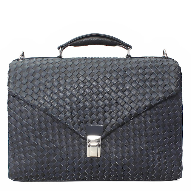 BRUNE NAVY BLUE WEAVED LEATHER LAPTOP BAG FOR MEN