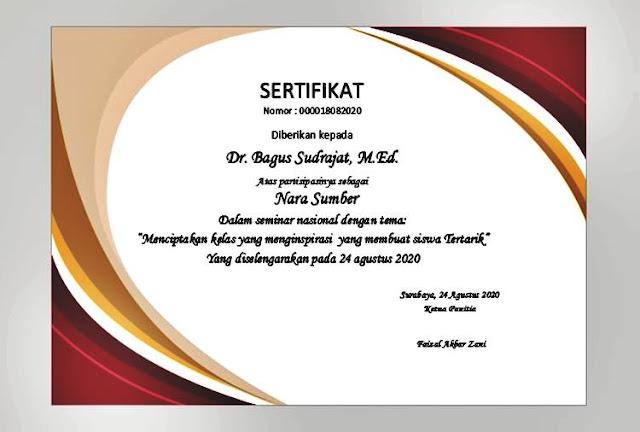 Download desain template sertifikat seminar ms word