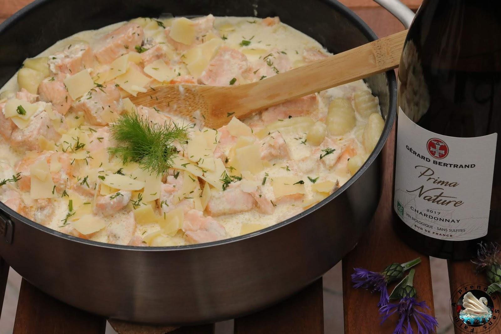 Saumon et gnocchis à la sauce citronnée