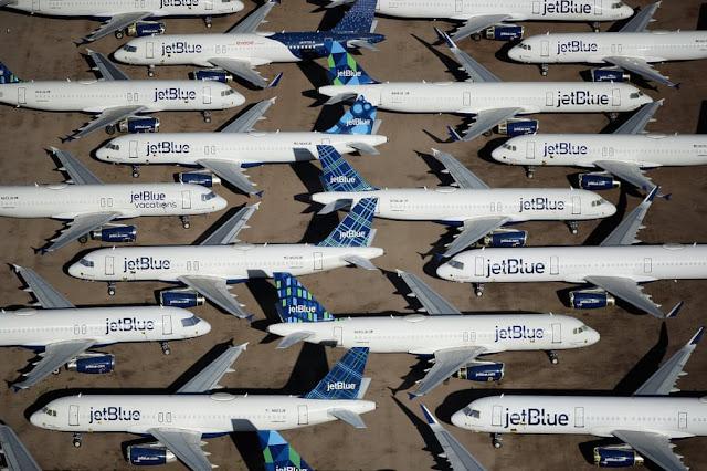 Виведені з експлуатації через пандемію літаки JetBlue