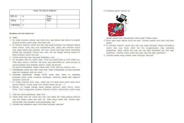 Soal Harian Kelas 4 SD/MI: Tema 2
