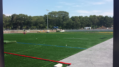 new turf field being installed at the high school