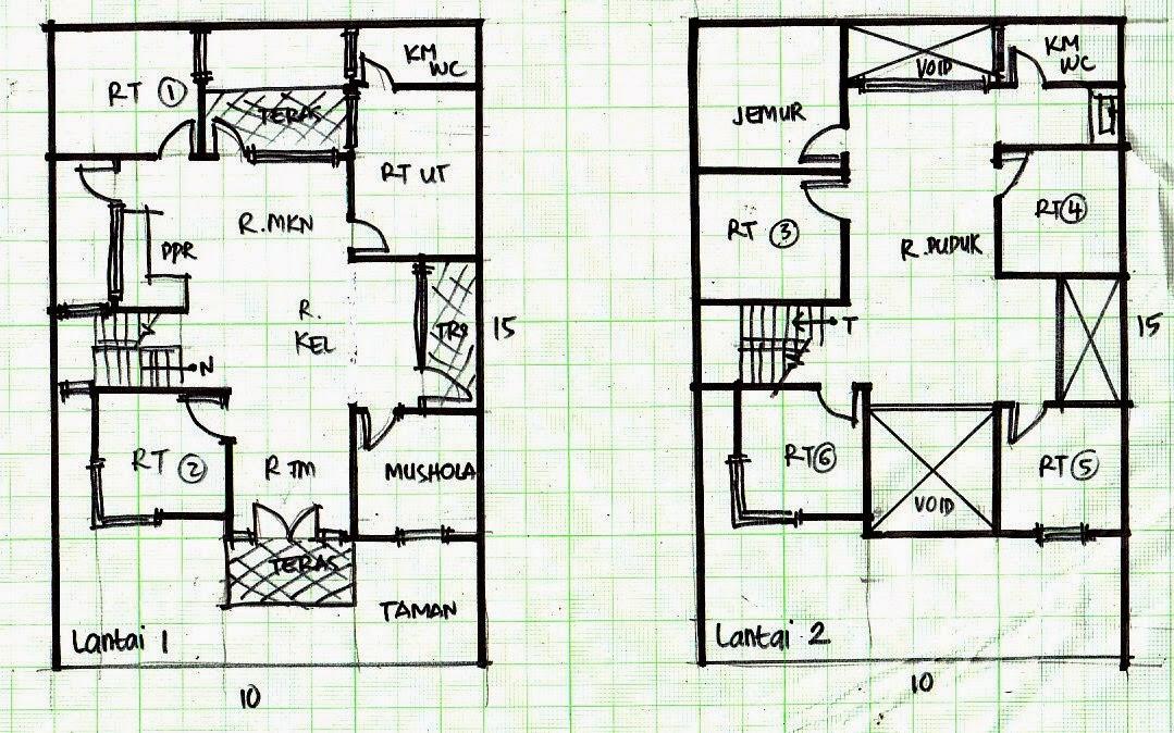 Denah Rumah Minimalis 2 Lantai Ukuran 10X15
