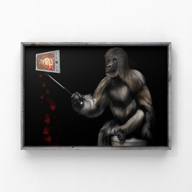 Vanity, Ape art, social art, bigfoot art, mythical art, Mark Taylor,