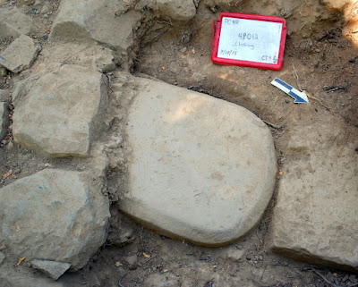 Inscribed stele uncovered at Etruscan temple