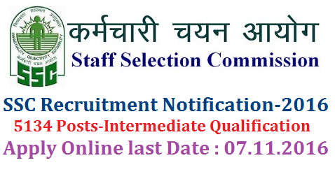 Staff Selection Commission Recruitment Notification for 5134 Posts-Apply Online STAFF SELECTION COMMISSION NOTICE Combined Higher Secondary Level (10+2) Examination, 2016 F.No. 3/2/2016-P&P-I. The Staff Selection Commission will hold an examination for Recruitment of Postal Assistants/Sorting Assistants, Data Entry Operators, Lower Divisional Clerks and Court Clerk during the period from 07.01.2017 to 05.02.2017 Tentatively the vacancies for the post of Postal Assistant/Sorting Assistant, LDC, DEO and Court Clerks are 3281, 1321, 506 and 26 respectively.