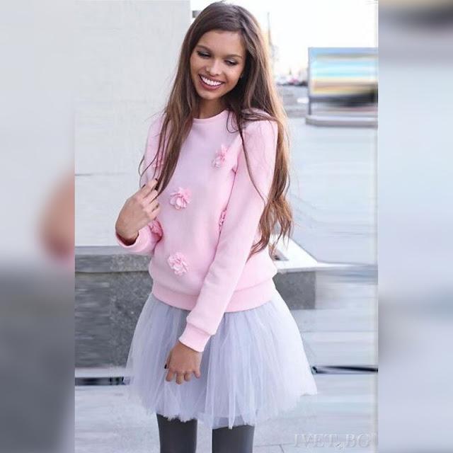 Μακρυμάνικη ροζ  γυναικεία μπλούζα NARINA PINK