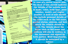 """You probably hear the term """"deed of sale"""".  It could define whether your transaction of selling or buying a motor vehicle can be smooth and hassle free or the other way around. Just a piece of paper but plays a very important role in these kind of transactions. You need to pay extra attention to save yourself from lawsuits in the future.    What is a deed of sale?  Deed of sale is a document showing sale of personal property. The deed of sale is a legal, binding document proving that both buyer and seller have reached an agreement of sale or purchase of an movable property.               In case of a motor vehicle sale,the deed of sale should indicate the details of the vehicle such as make, color, body type, plate number, model, and engine number. A deed of sale should  also include personal details of the seller such as the full name, marital status, address, and how much the vehicle should be sold. Moreover, details about the buyer such as full name and address will also be written in the document and signed by both parties. Most importantly,this should be notarized by a lawyer.  On the legal basis, the buyers are required to register the vehicle at the Land Transportation Office (LTO) once it changes ownership. However, a practice wherein the details of the buyer are left blank  exists, which is called an open deed of sale.   For those who are in the car buy and sell business, it is always handy because it saves them time and money to have a vehicle registered only to sell it after a while.      Just a friendly reminder, if you are planning on venturing to selling or buying  cars, avoid using an open deed of sale at all times.  Although it may serve as a binding contract between the buyer and seller, the vehicle will technically remain in the ownership of the seller until the buyer decides to register it under their name.  It means that the seller will be responsible in case the buyer gets involved in a hit and run accident or similar cases.  If you are on the b"""