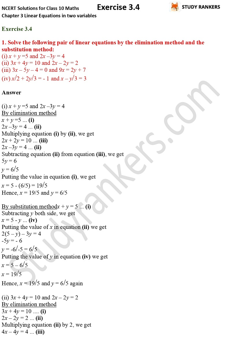 NCERT Solutions for Class 10 Maths Chapter 3 Pair of Linear Equations in Two Variables Exercise 3.4 Part 1