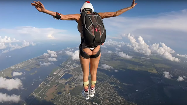 French Model Anais Zanotti Skydiving in Bikni