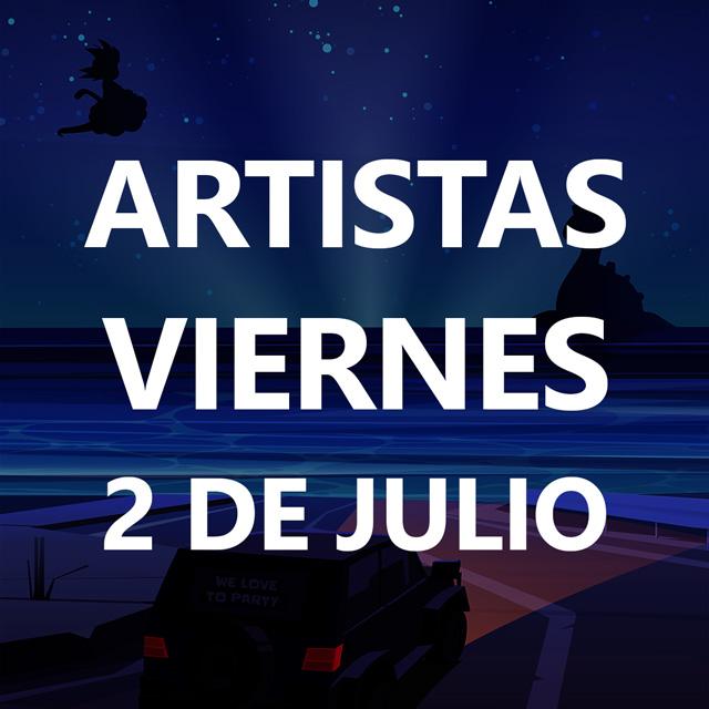 Dibujo de un coche iluminando una playa de noche. La frase Viernes 2 de Julio se puede leer en grande tapando el dibujo