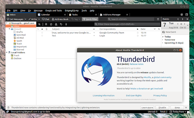 Thunderbird 60 Linux dark theme