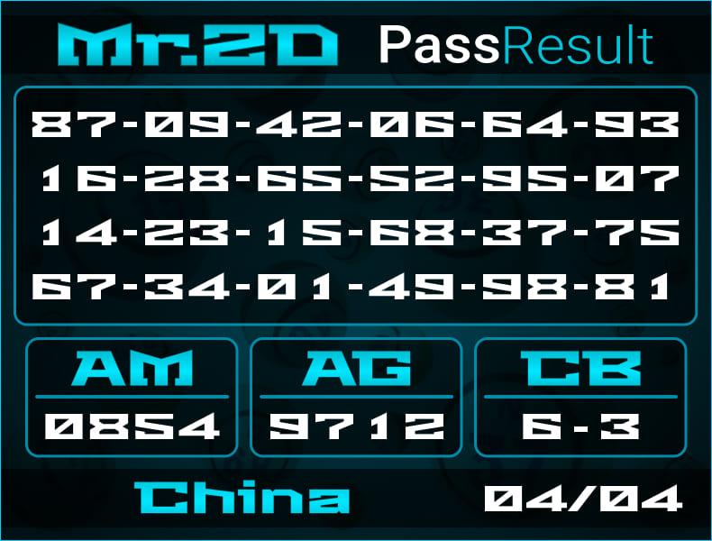 Prediksi Mr.2D   PassResult - Kamis, 4 April 2021 - Prediksi Togel China