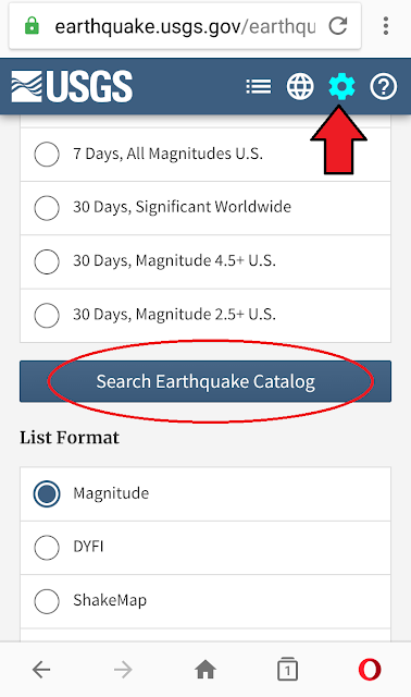 Search Earthquake Catalog USGS