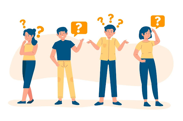 illustration of 4 people asking questions