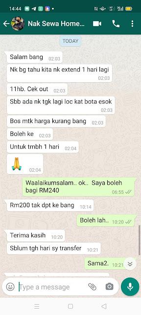 Perbincangan dengan penyewa homestay melalui Whatsapp