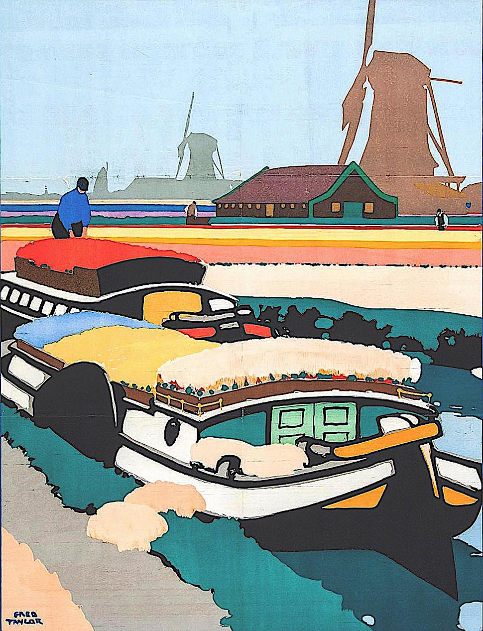 a Fred Taylor travel poster illustration of a farm boat loaded with flowers