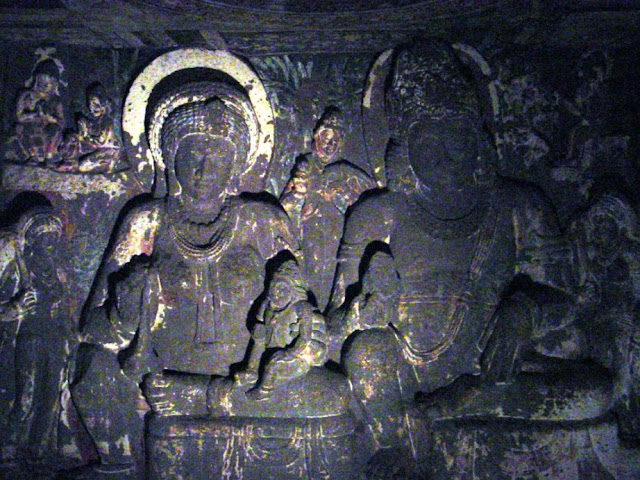 Ajanta cave 2 sculptures of  Hariti and Pancika