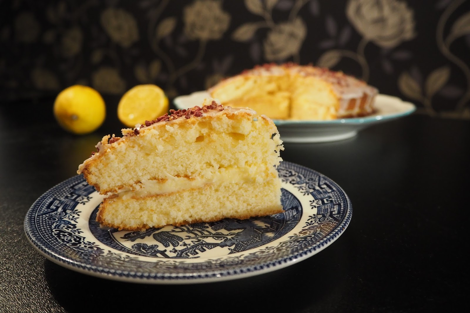 slice of Homemade lemon drizzle cake