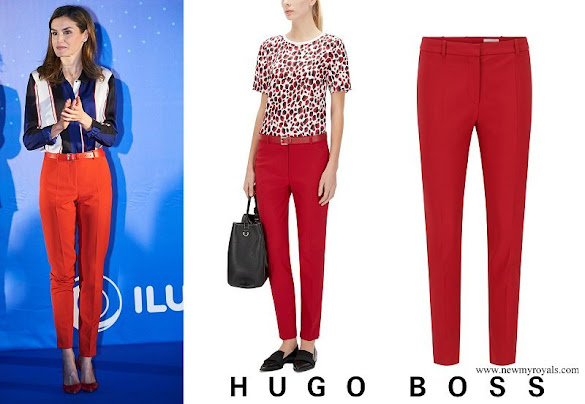 Queen Letizia wore Hugo Boss Arima stretch cotton-blend trousers