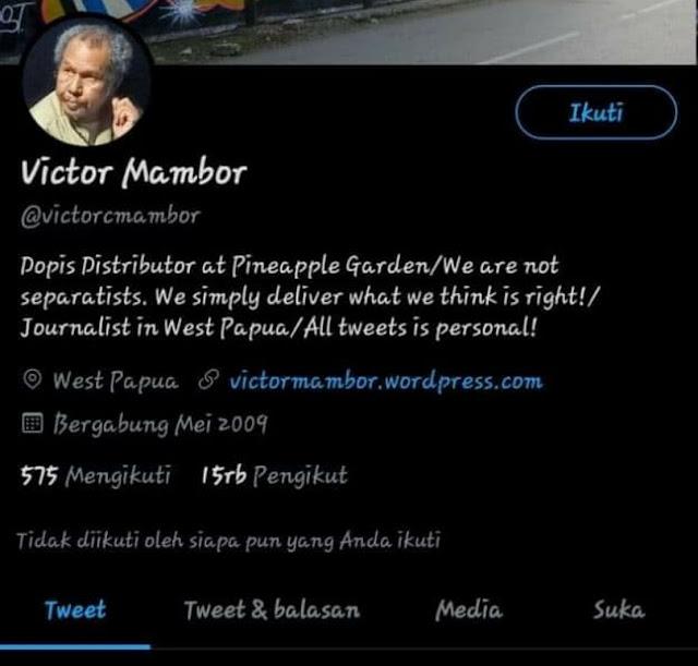 Akun Twitter Victor Mambor Lenyap Usai Unggah Video Anggota TNI AU Injak Kepala Warga Papua