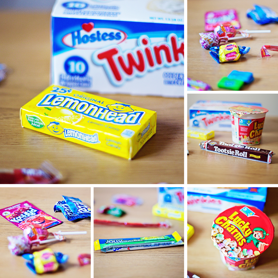 Montage of photos of American candy