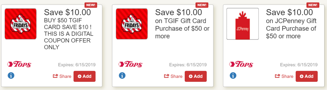 Save $10 on JCP or TGIF Gift Cards at Tops Markets (with digital