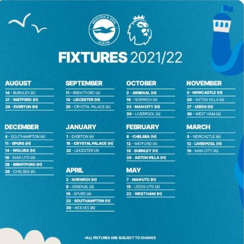 جدول مباريات برايتون فى الدوري الانجليزي للموسم الجديد 2021/2022