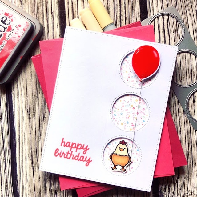 Sunny Studio Stamps: Birthday Balloon Window Trio Dies Chicken Birthday Card by Noga Shefer