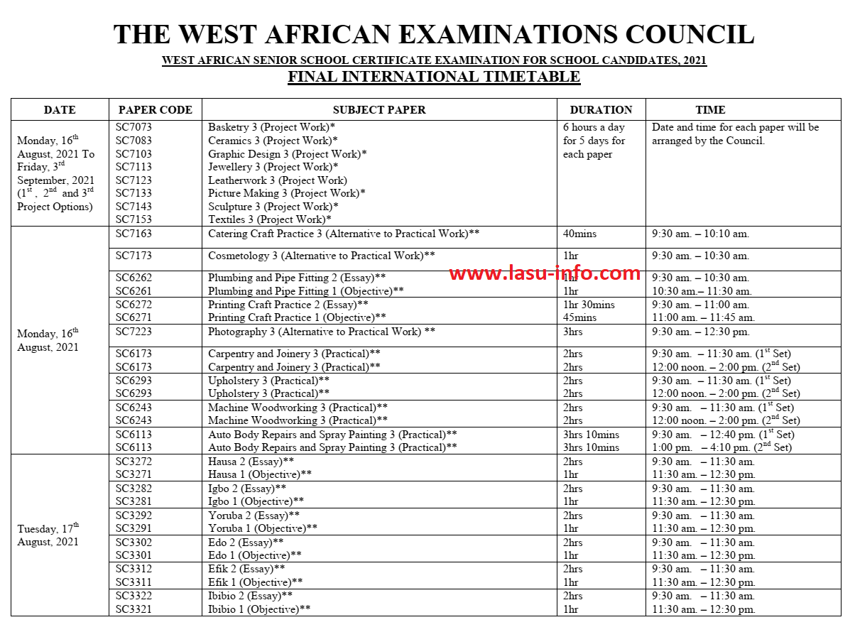 WAEC Timetable for School Candidates [16th Aug - 30th Sept 2021]