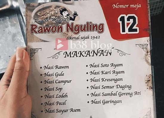 Daftar Harga dan Menu Rawon Nguling Probolinggo
