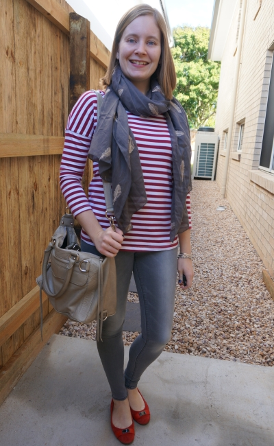burgundy striped tee with grey skinny jeans, feather embroidered scarf, RM MAM bag and red suede flats | awayfromblue