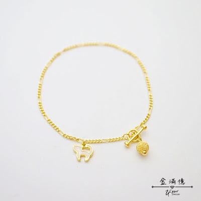 寵貓女孩-黃金手鍊-純金9999
